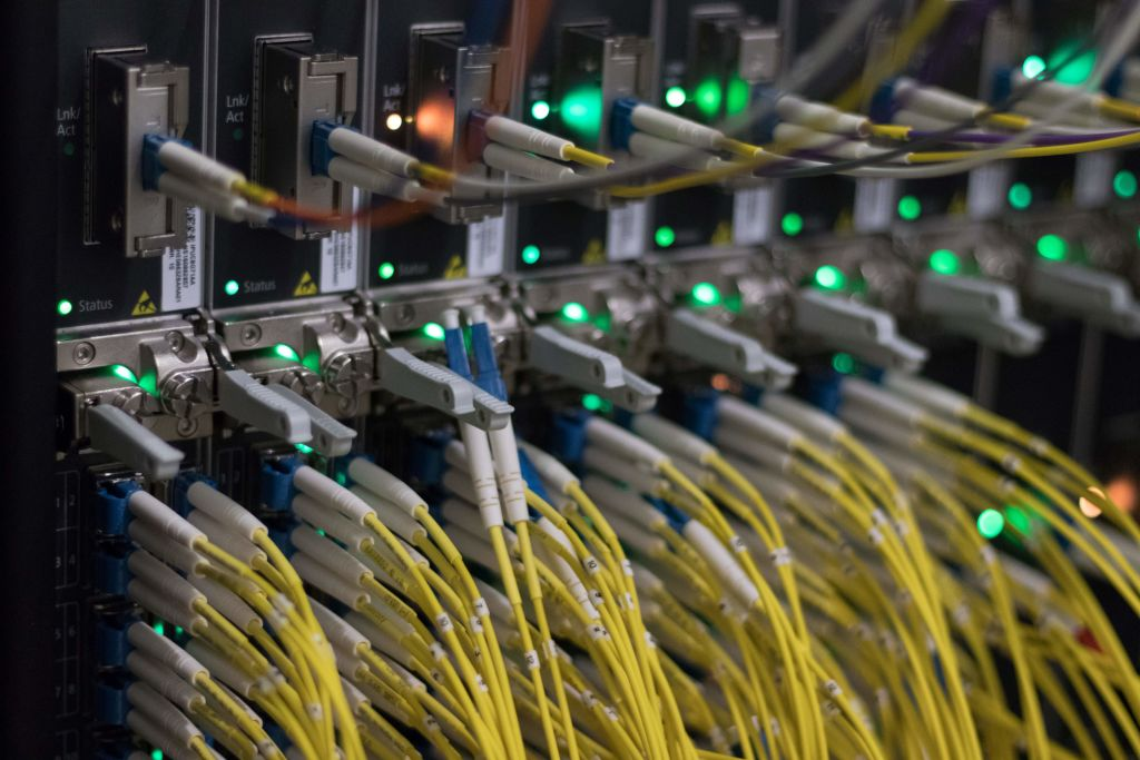 Network cables at a data center of DE-CIX (Deutscher Commercial Internet Exchange) in Frankfurt (2018)