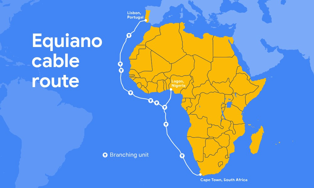 Google's Equiano submarine cable route