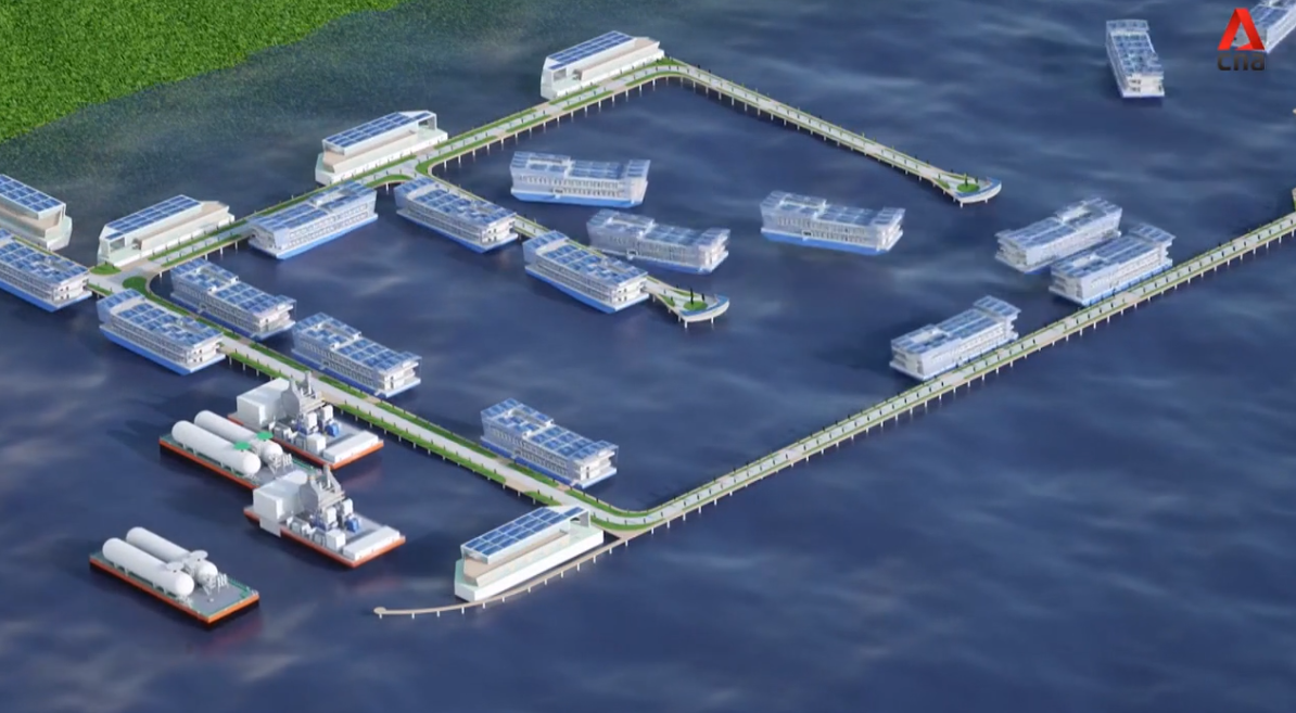A CGI representation of Keppel's vision of a floating data center park, or