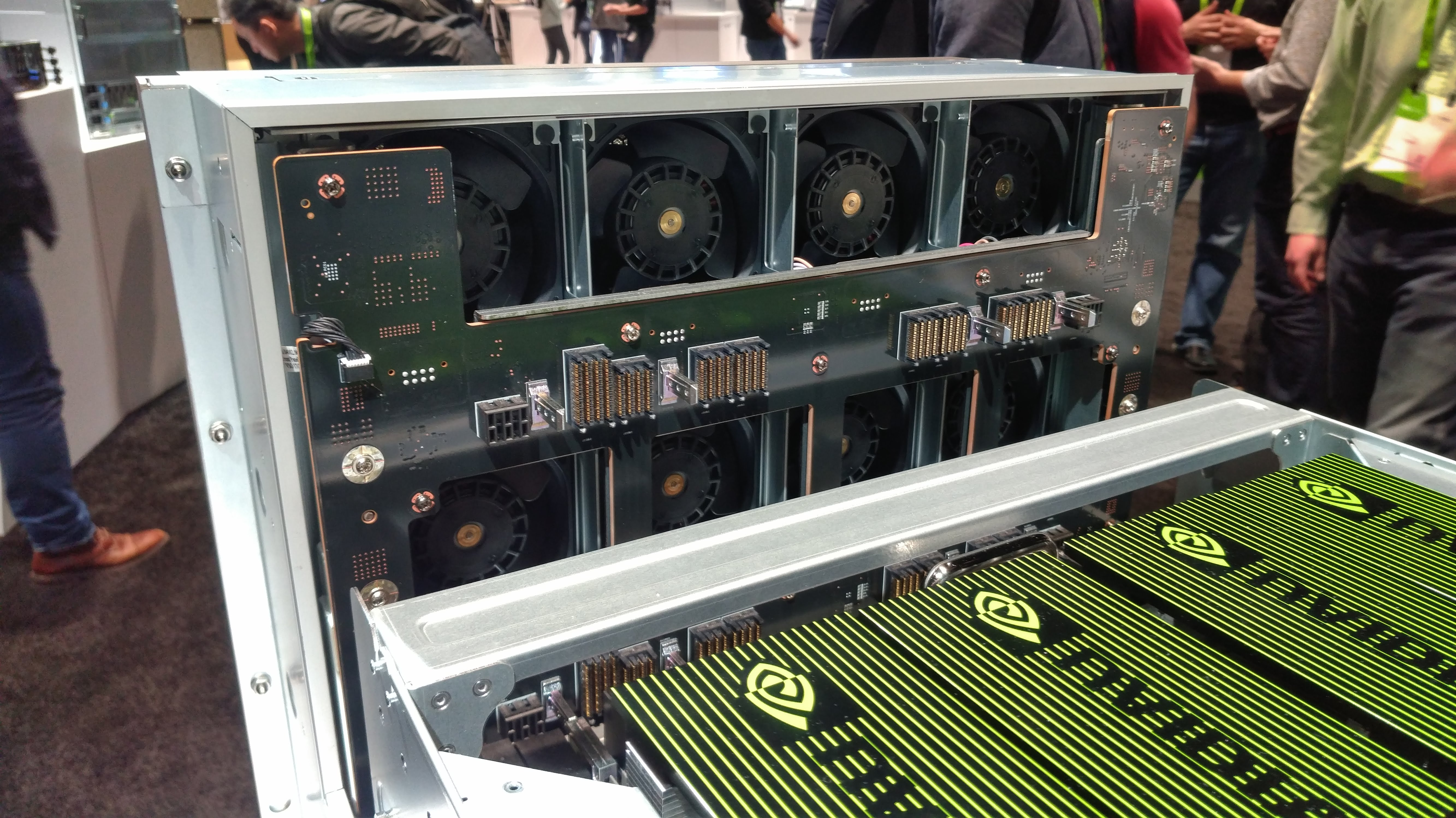 Cooling fans of the Nvidia DGX-2 system on display at GTC 2018