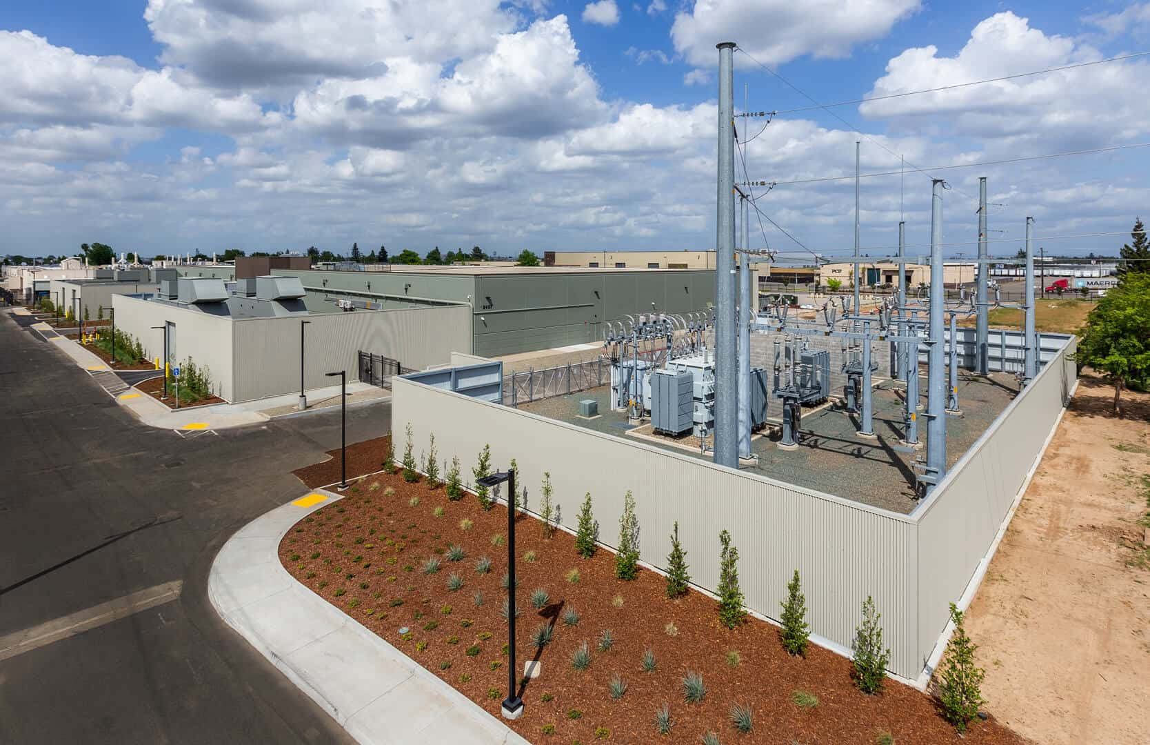 The electrical substation in McClellan Park, outside Sacramento, where Prime Data Centers has built the first building of what it hopes will eventually become a data center campus.