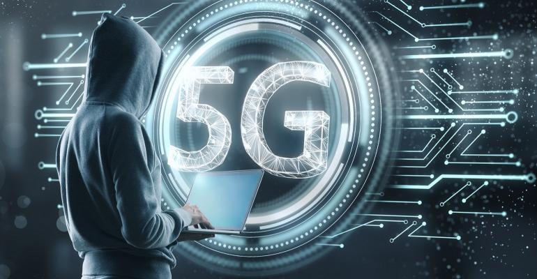hacker with creative 5G hologram