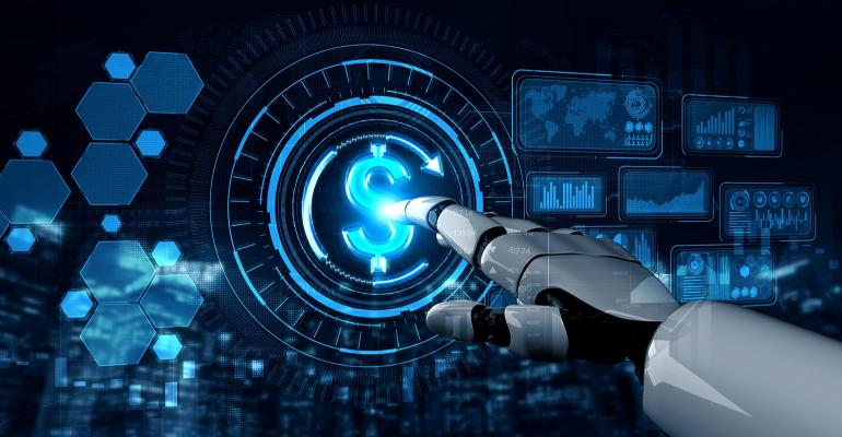 AI robot pressing on dollar sign