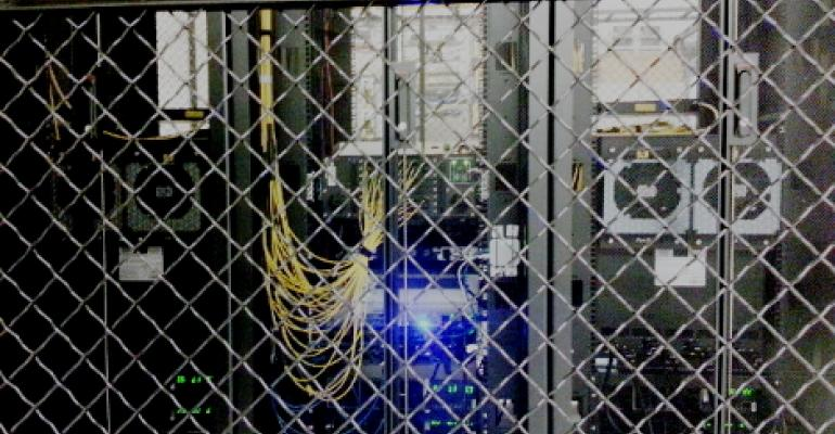 The AMS-IX Bay Area Internet exchange equipment inside a cage in one of the meet-me rooms at Digital Realty Trust's 365 Main data center in San Francisco