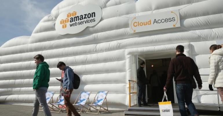 The cloud pavilion of Amazon Web Services at the 2016 CeBIT tech fair in Hanover, Germany