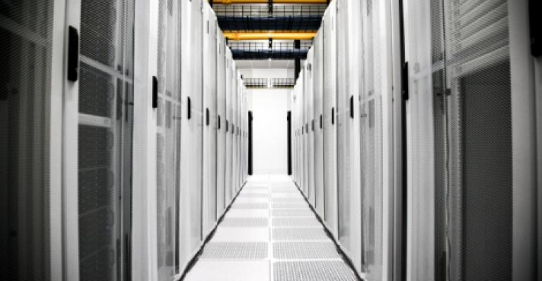 A look down an aisle at an EdgeConneX data center
