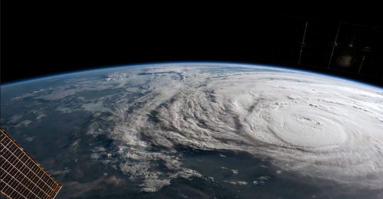A satellite image of Hurricane Harvey