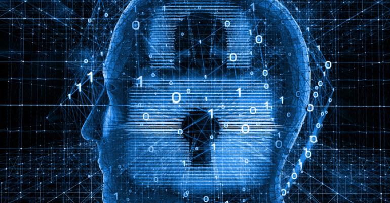 Digital rendering of lock inside human brain