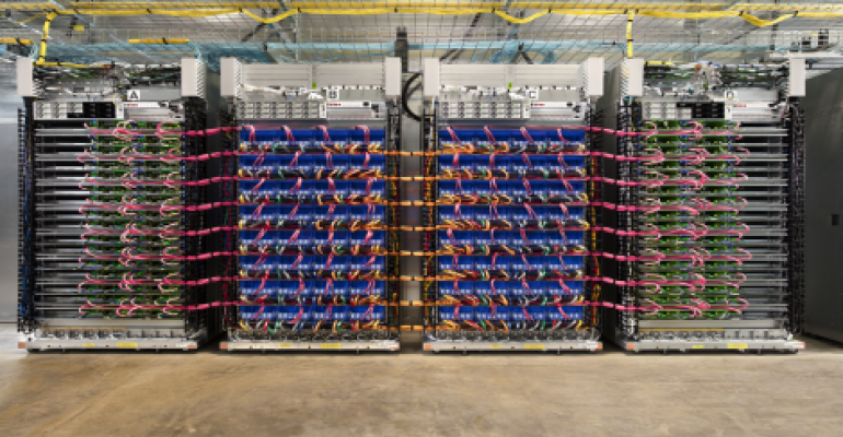 Racks of servers powered by Tensor Processing Units (TPUs), Google's custom processors for machine learning