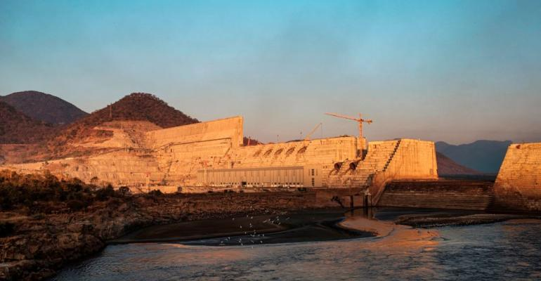 The Grand Ethiopian Renaissance Dam (GERD), near Guba in Ethiopia, in December 2019. At 6,000MW, 145 meters high, and 1.8  kilometers long, the concrete colossus is set to become the largest hydropower plant in Africa.