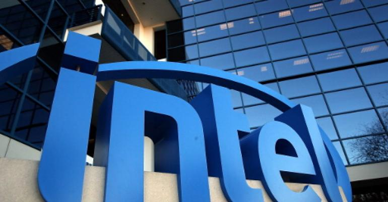 The Intel logo is displayed outside of the Intel headquarters in Santa Clara, California, in 2014.