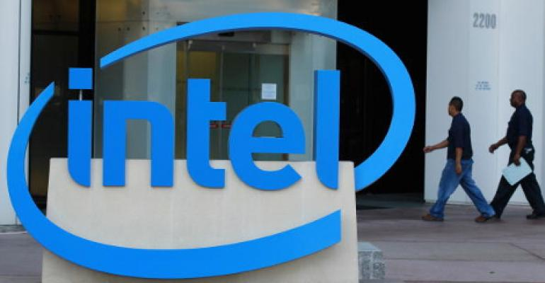An image of the Intel logo at an office building