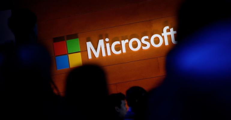 Microsoft logo at conference