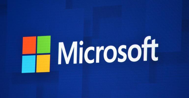 Microsoft Logo on Blue Background