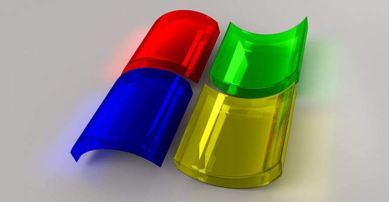 Microsoft Windows logo in glass