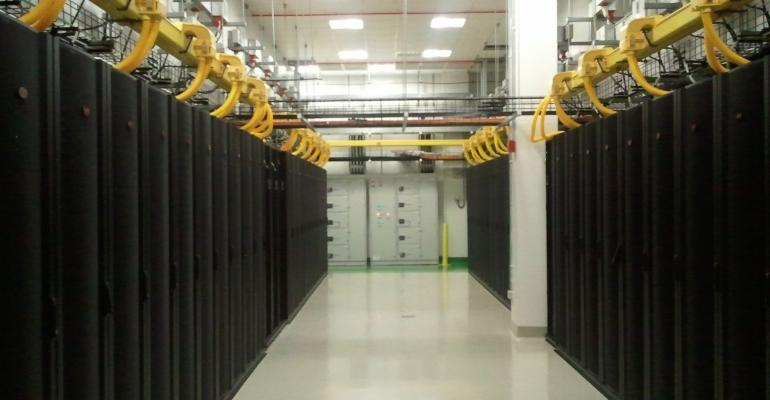 A data center aisle