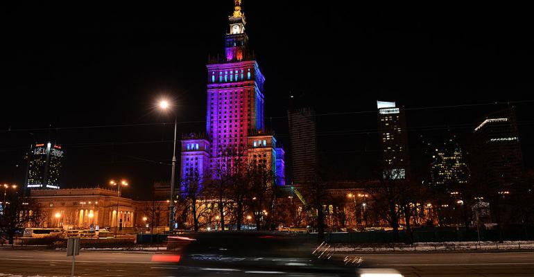 Palace of Culture and Science in Warsaw, seen in March 2013