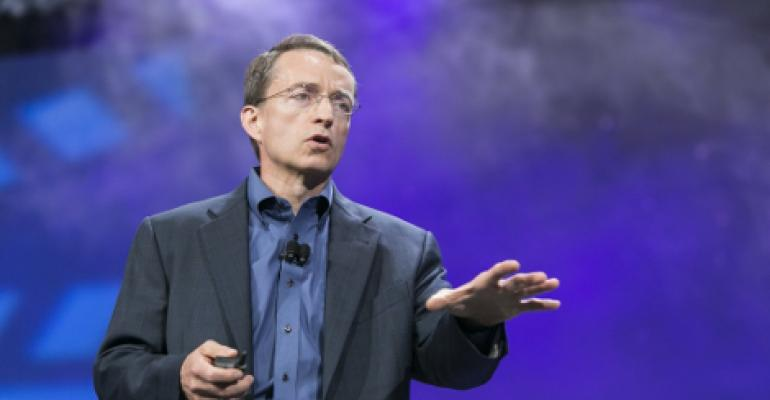 VMware CEO Pat Gelsigner speaking at VMworld 2014 in San Francisco.