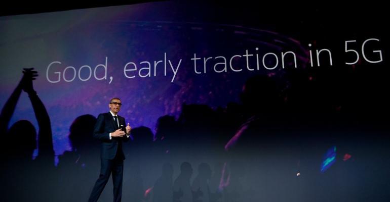 Nokia CEO Rajeev Suri speaking at Mobile World Congress 2018 in Barcelona