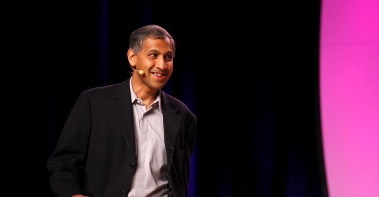 Rajiv Ramaswami, then executive VP and GM at Broadcom, speaking at Interop 2013. Ramaswami is now president and CEO of Nutanix.