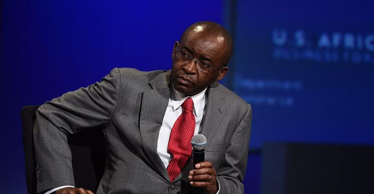 Strive Masiyiwa speaking at the US-Africa Leaders Summit in Washington, DC, in 2014