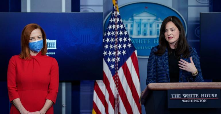 (L-R) White House Press Secretary Jen Psaki looks on as Deputy National Security Advisor for Cyber and Emerging Technology Anne Neuberger speaks during the daily press briefing at the White House on February 17, 2021 in Washington, DC. Neuberger said.