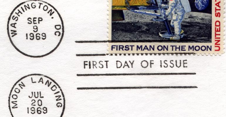apollo 11 moon landing stamp getty