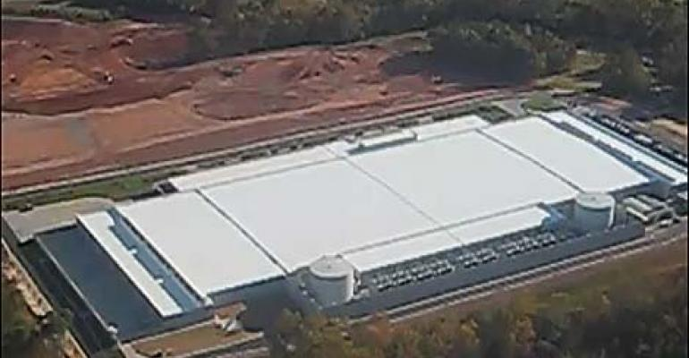 An aerial view of the new Apple data center in Maiden, North Carolina, excerpted by a video by area real estate agent Bill Wagenseller.
