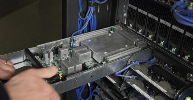 Cold plates inside a server cooled with Aquila's Aquarius liquid cooling technology