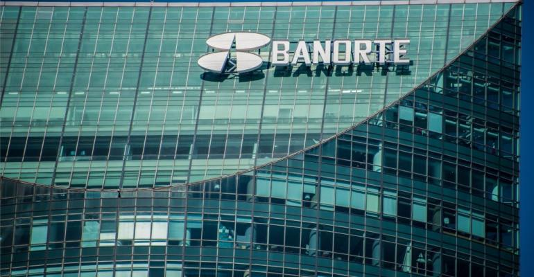 A sign of Mexican bank Banorte is seen on a building in Mexico City on December 3, 2018.