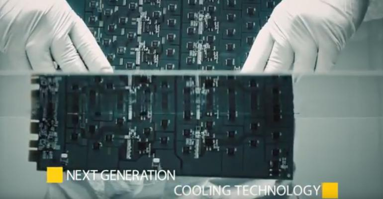 Screenshot from a Bitfury promo video about its liquid cooling technology