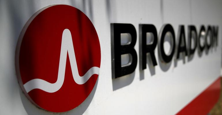 Broadcom logo outside company offices in San Jose, California