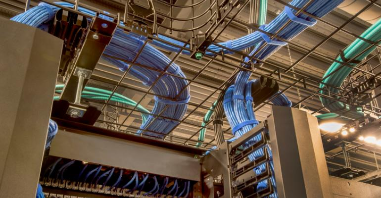 Cable trays inside a data center