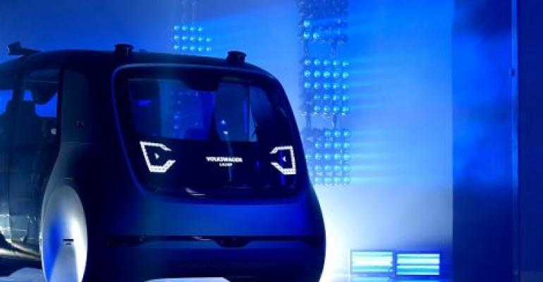 A Volkswagen self-driving car at the Volkswagen Group Shaping The Future/Create Innovation event ahead of the 87th Geneva International Motor Show in March 2017.