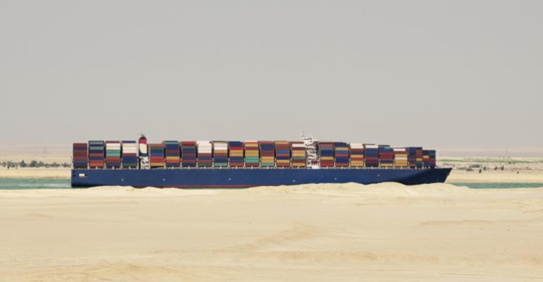 Container ship on the Suez Canal