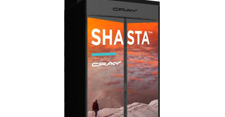 Rendering of a Cray Shasta HPC system cabinet