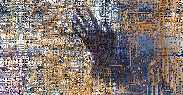 hand seen within network of computer circuitry