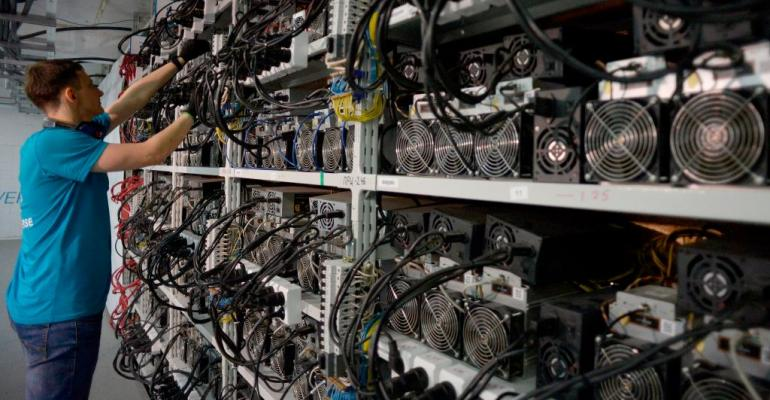 A CryptoUniverse bitcoin mining center in Kirishi, Russia