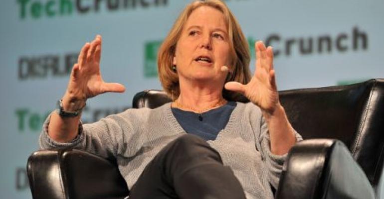 Senior VP at Google Diane Greene speaks onstage during TechCrunch Disrupt SF 2016 in San Francisco.