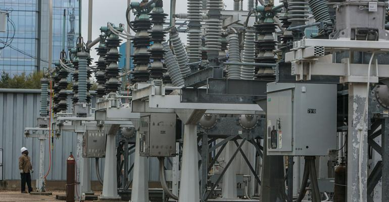 An electrical substation in downtown Houston, 2016