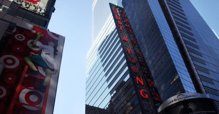 The Ernst and Young building in New York's Times Square seen in 2010