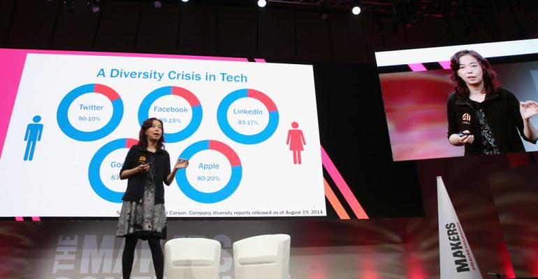 Fei-Fei Li, former chief scientist at Google Cloud, speaks onstage during The 2018 MAKERS Conference at NeueHouse Hollywood on February 6, 2018 in Los Angeles