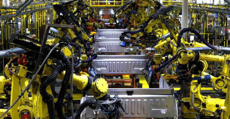 Ford F150 trucks go through robots on the assembly line at the Ford Dearborn Truck Plant on September 27, 2018 in Dearborn, Michigan.