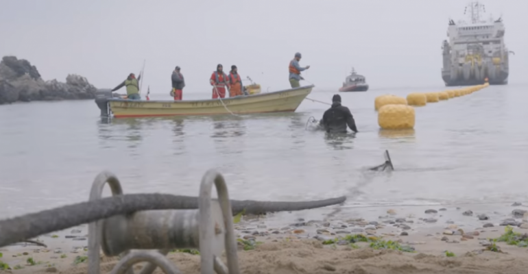 Google's Cure submarine cable landing on shore
