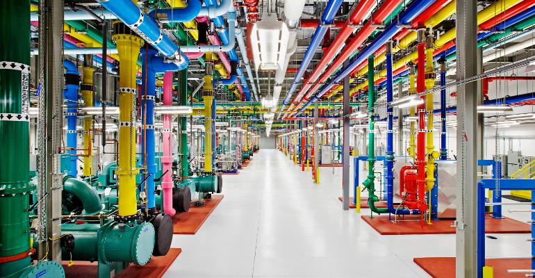 Cooling system pipes inside a Google data center