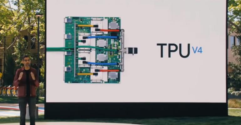 Google CEO Sundar Pichai announcing the TPU v4 at Google IO 2021