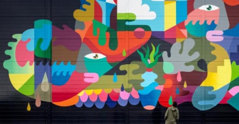 Mural on a Google data center in St. Ghislain, Belgium