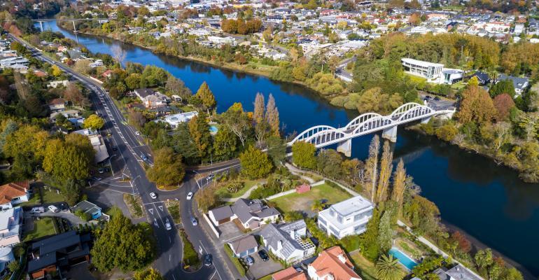 Aerial view of Hamilton, a city in the Waikato region of New Zealand