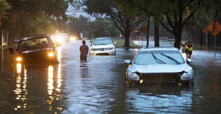 Stranded vehicles in high water from Hurricane Harvey on Dairy Ashford Drive, August 28, 2017 in Houston, Texas