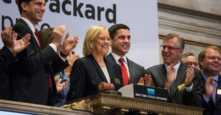 Meg Whitman CEO of Hewlett Packard Enterprise, rings the NYSE opening bell on November 2, 2015 in New York City.